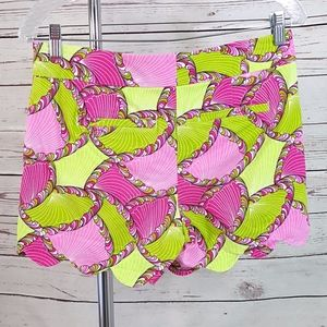 crown & ivy Shorts - Crown & Ivy pink green shell geo scallop shorts